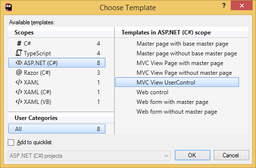 'Choose Template' dialog helps selecting file and surround templates