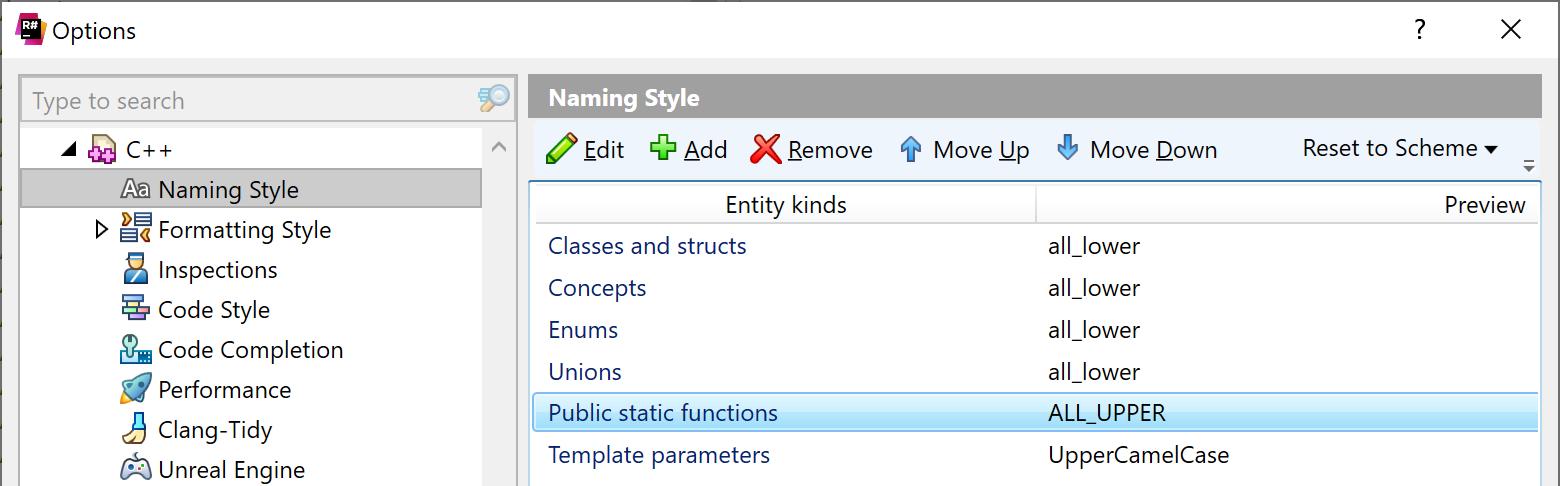 ReSharper: Naming style settings for C++
