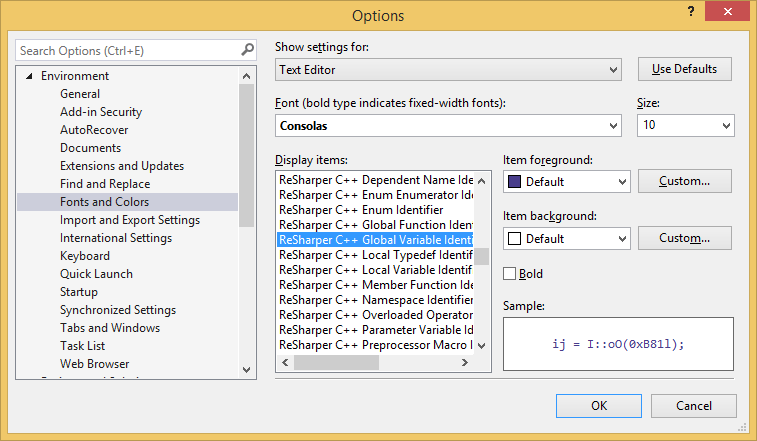 Configuring syntax highlighting for C++ identifiers