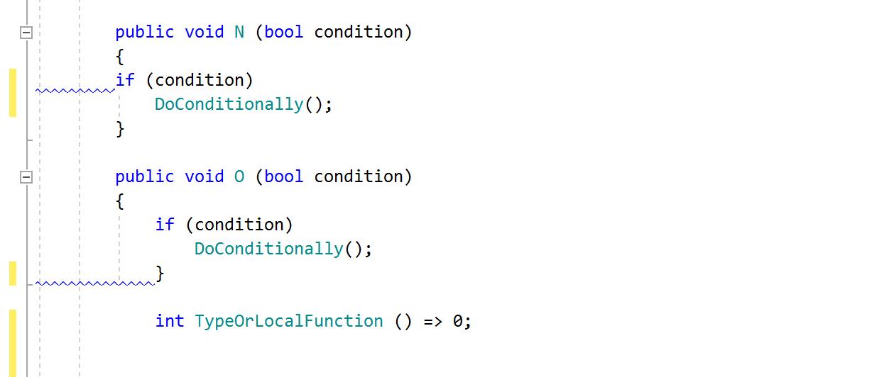 ReSharper code inspection: Incorrect indent (around statement braces)