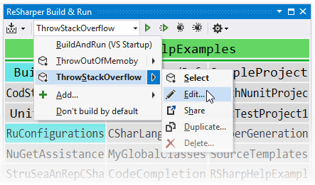 Run configurations in the ReSharper Build & Run window