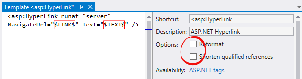 Template options that could be turned off