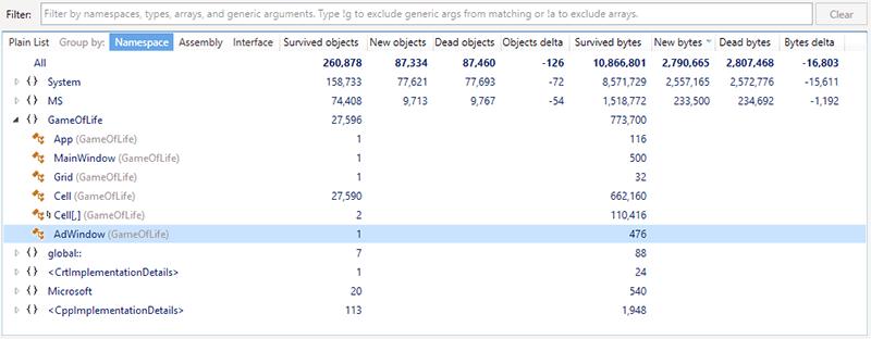 T2 snapshot comparison namespace