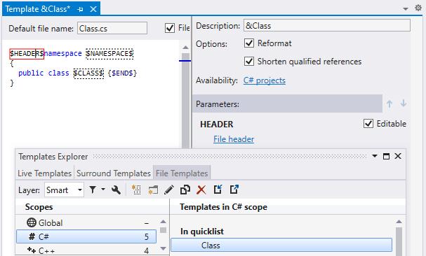 ReSharper: File template with file header