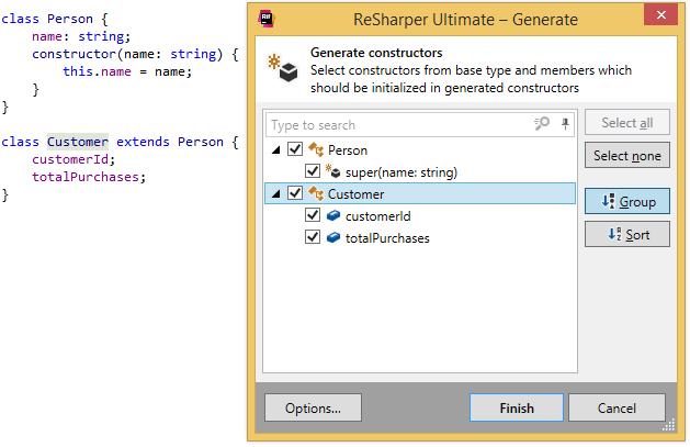 ReSharper. Generating constructors for TypeScript class