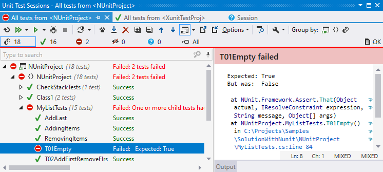 dotCover: Unit Test Sessions window