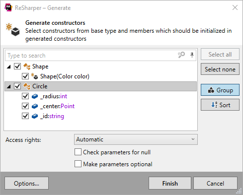 Generating type constructors with ReSharper