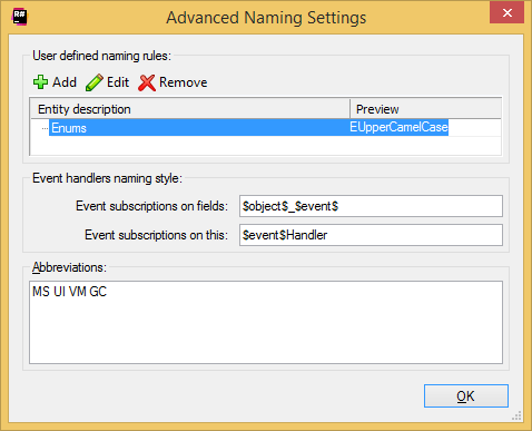 ReSharper: naming style options. advanced settings