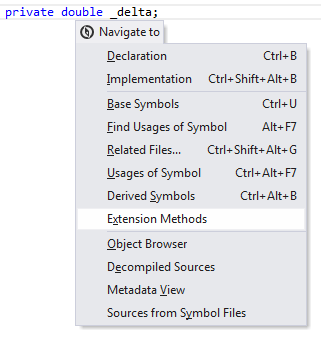 Navigating to type's extension methods