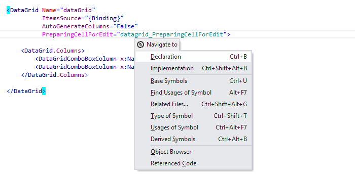 ReSharper: 'Navigate To' in XAML files