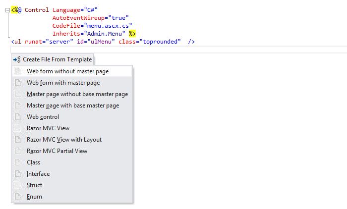 ReSharper: File templates in ASP.NET