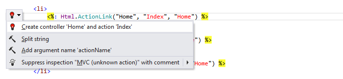 ReSharper: Create from usage in ASP.NET