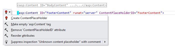 ReSharper: 'Create ContentPlaceholder' quick-fix in ASP.NET