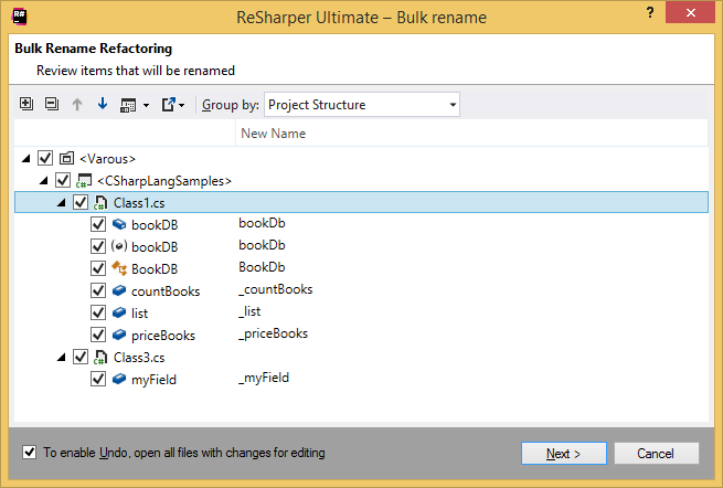 Fix in scope: bulk rename