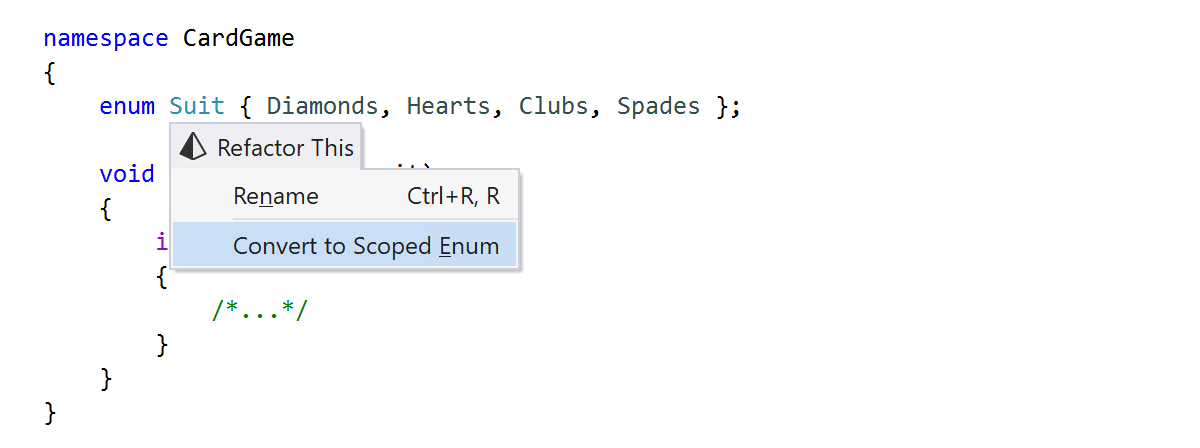 ReSharper: Convert to Scoped Enum