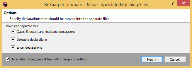 Moving types into separate files in one go