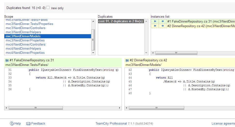 Duplicate analysis on TeamCity