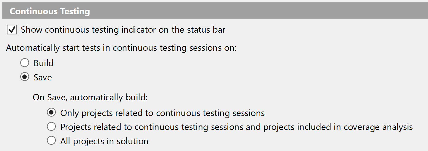 Continuous testing settings