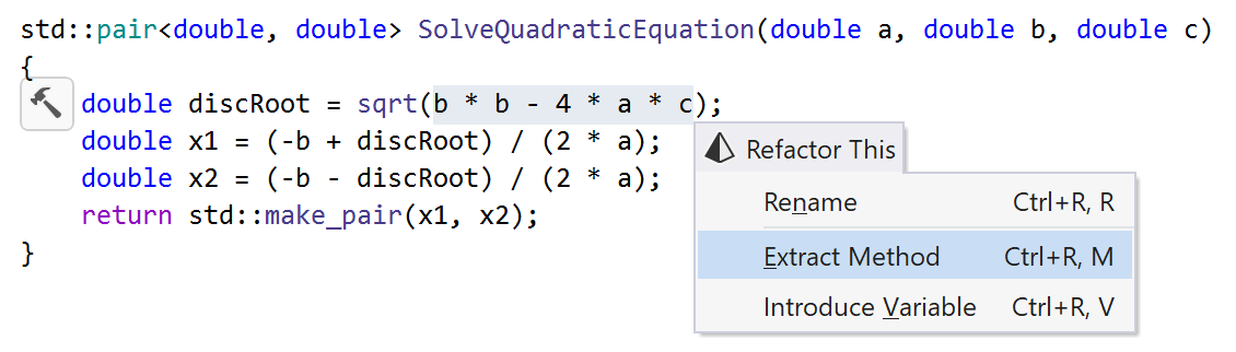 Extract method in C++: Selecting expression