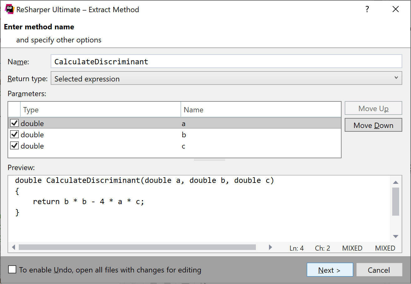 Extract method in C++: Specifying method details
