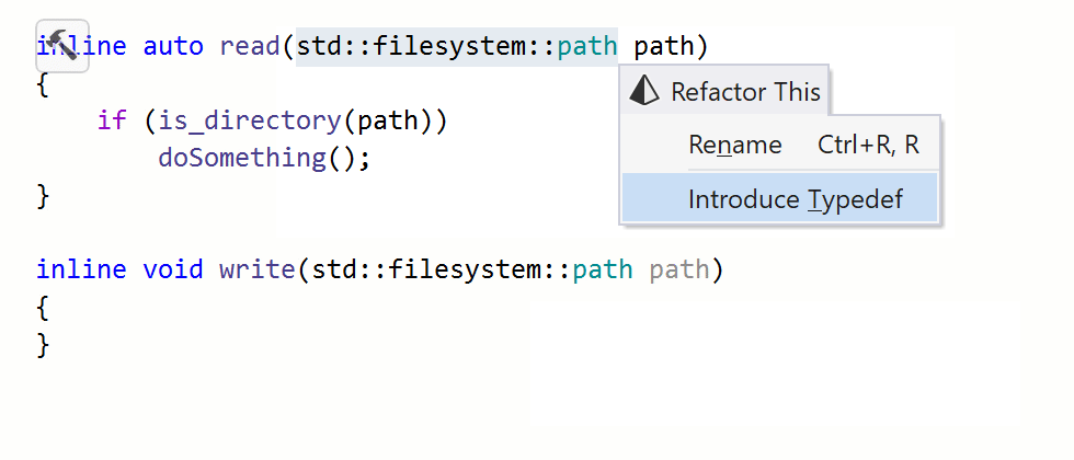 ReSharper: Introduce/Inline typedef refactoring in C++