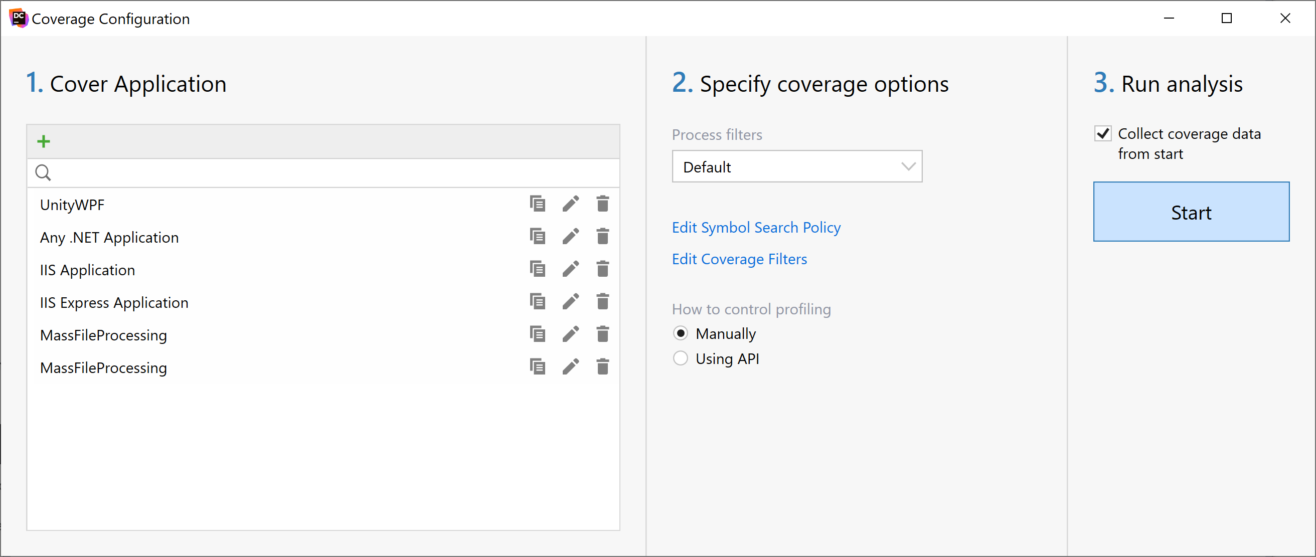 dotCover: Coverage Configuration dialog