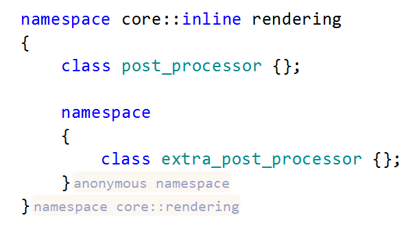 ReSharper: Inlay hints. Namespaces.