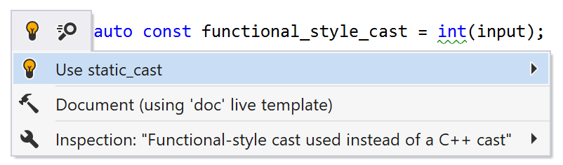 Functional-style cast used instead of a C++ cast