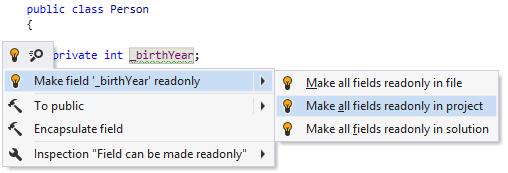 Make field readonly quick-fix