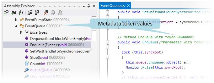 Metadata token values displayed by dotPeek