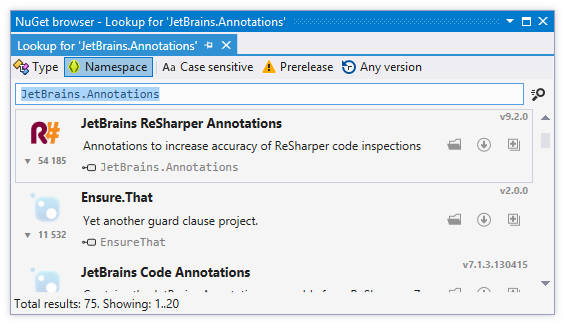 ReSharper's NuGet package browser
