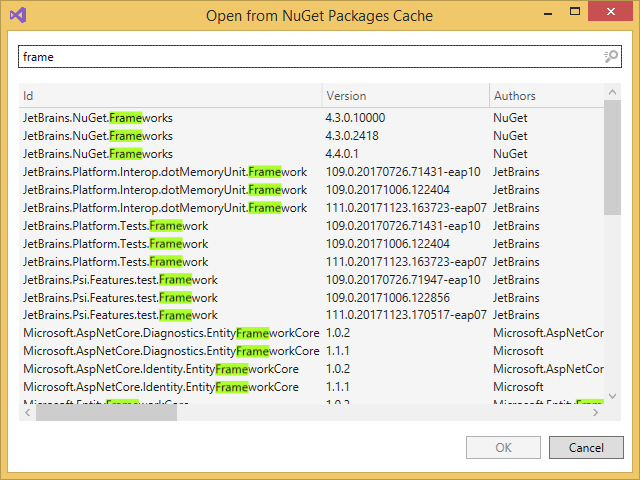 Opening NuGet packages from local NuGet package cache