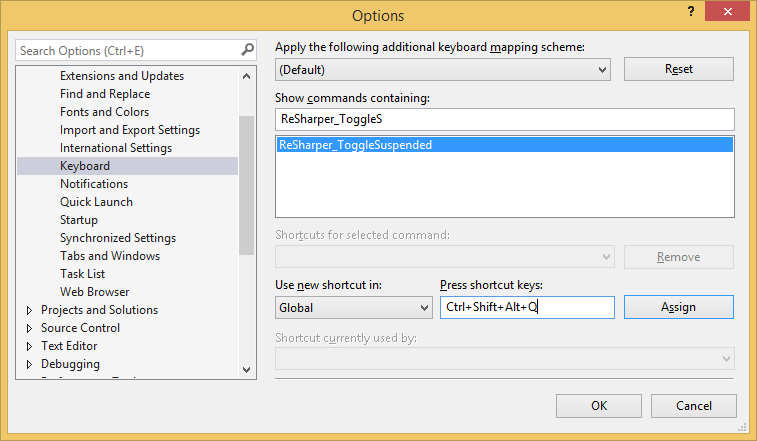 Assigning a keyboard shortcut to suspend/resume ReSharper
