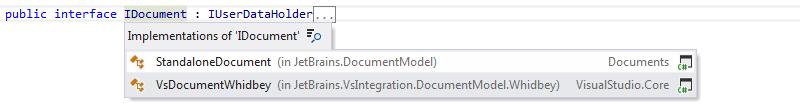 ReSharper: Go to implementation. Drop-down list