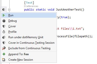 Profile tests in Visual Studio