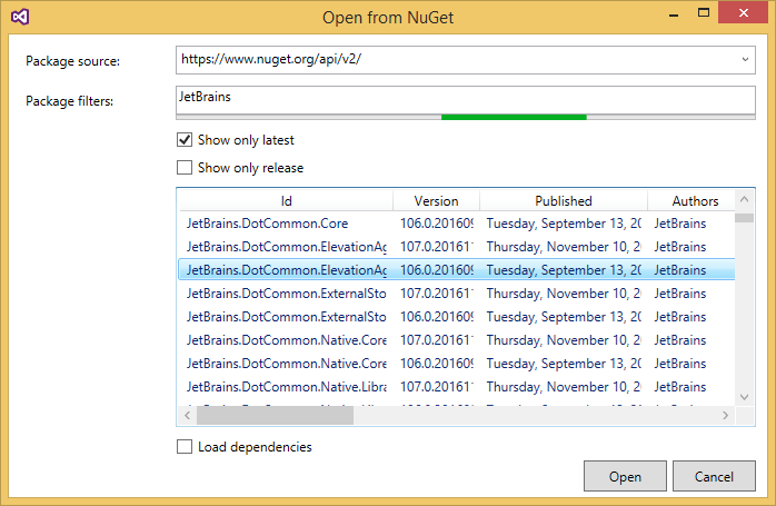 Opening NuGet packages from an online package source