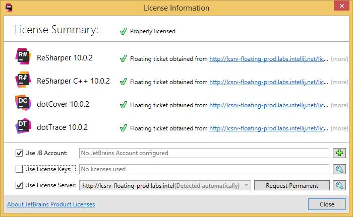 dotCover 'License Information' dialog