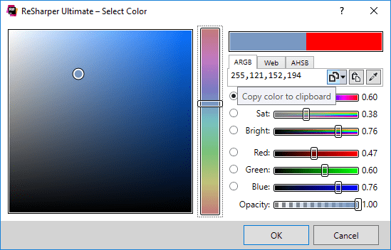 Changing color definition in C# with a visual editor