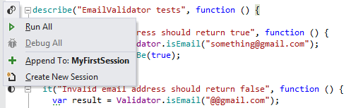 Running a Jasmine unit test suite from the editor