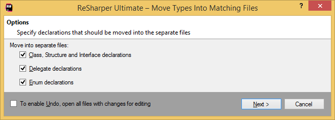 Moving types to matching files