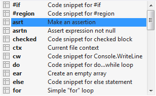 A popup with the list of live templates