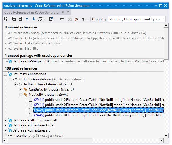 ReSharper: Analyze references window