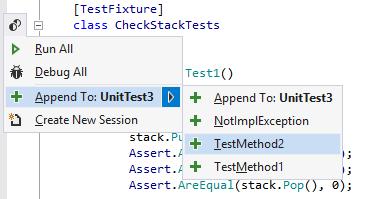 ReSharper: appending tests to a test session