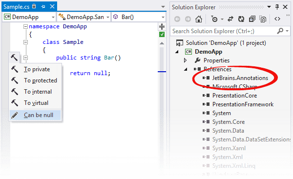 ReSharper: 'Can be null' context action