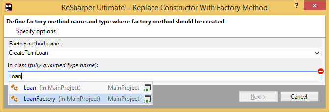 Replacing constructor with a factory method
