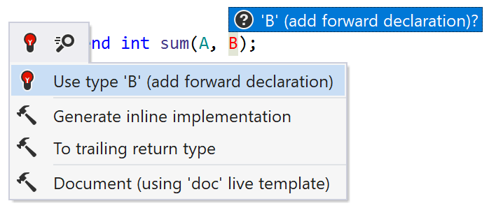 ReSharper: Add forward declaration quick-fix