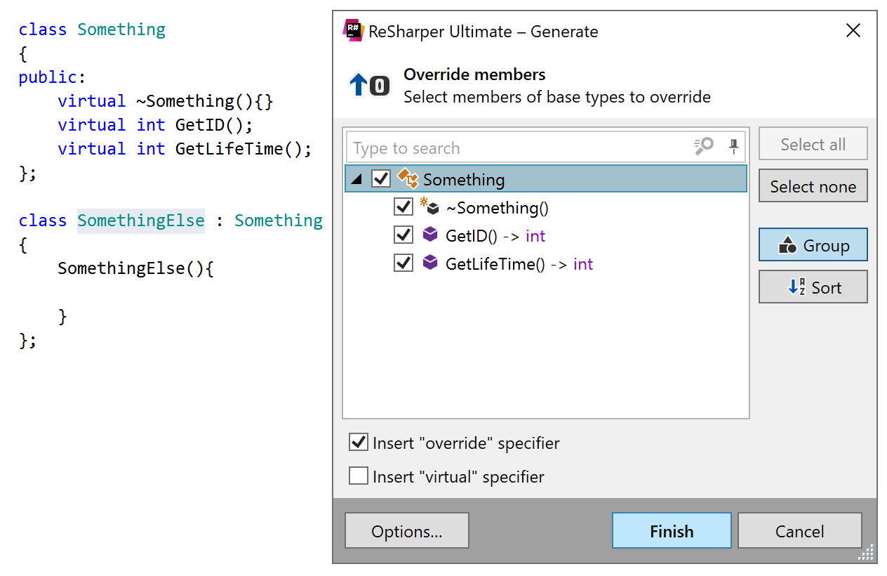 Generating overriding members for a C++ class