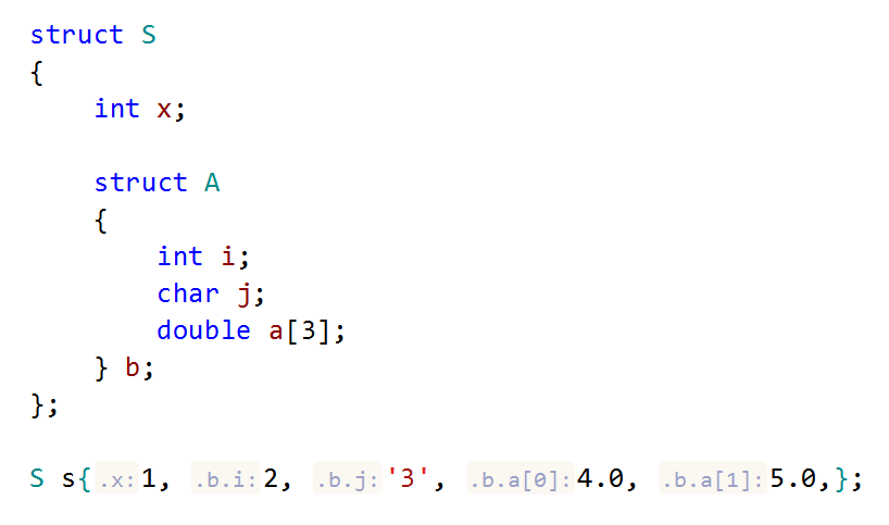 ReSharper C++: parameter name hints in aggregate initialization