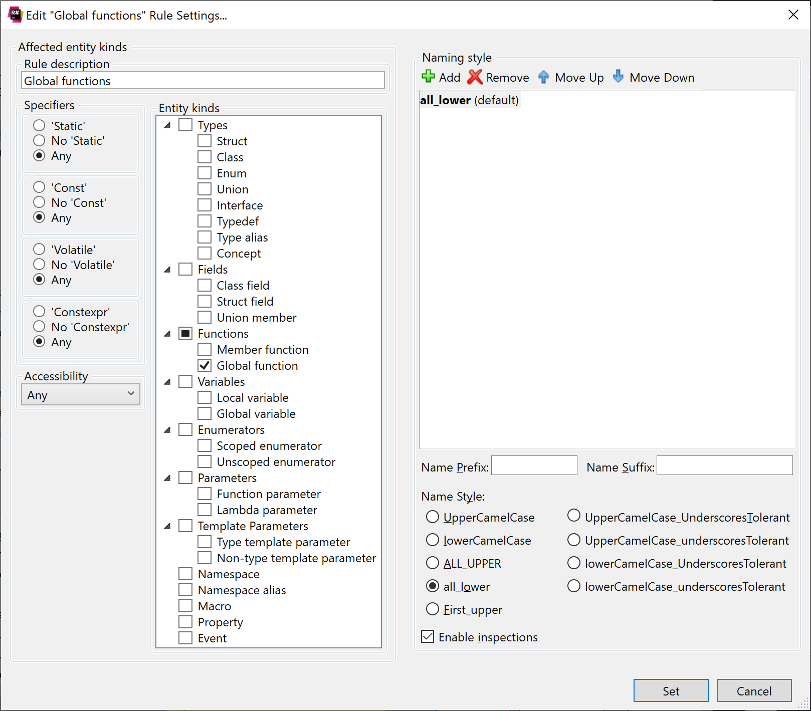 ReSharper: Configuring a C++ naming rule