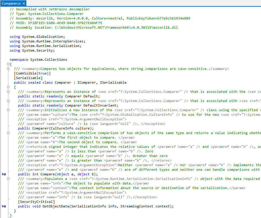 dotPeek: Metadata view of a library symbol